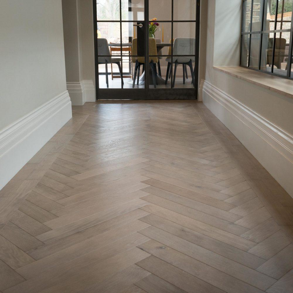 Dominica Grey Oak Herringbone Flooring