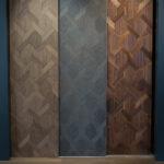 3 display panels of mansion weave wood flooring
