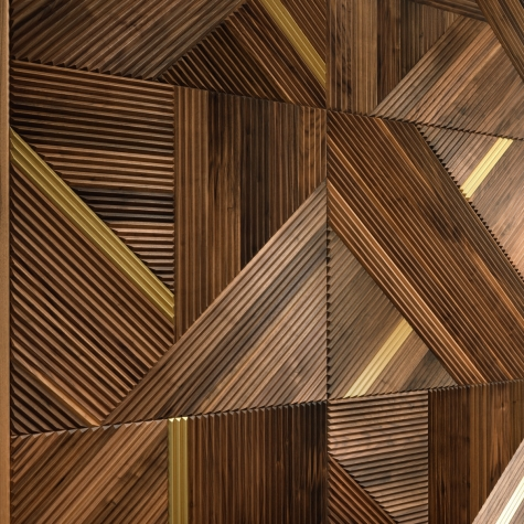 Decorative Fluted wood Panel Walnut and Brass