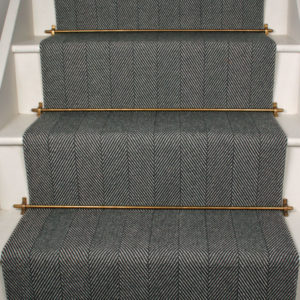 Herringbone Flatweave Runner with stair rods