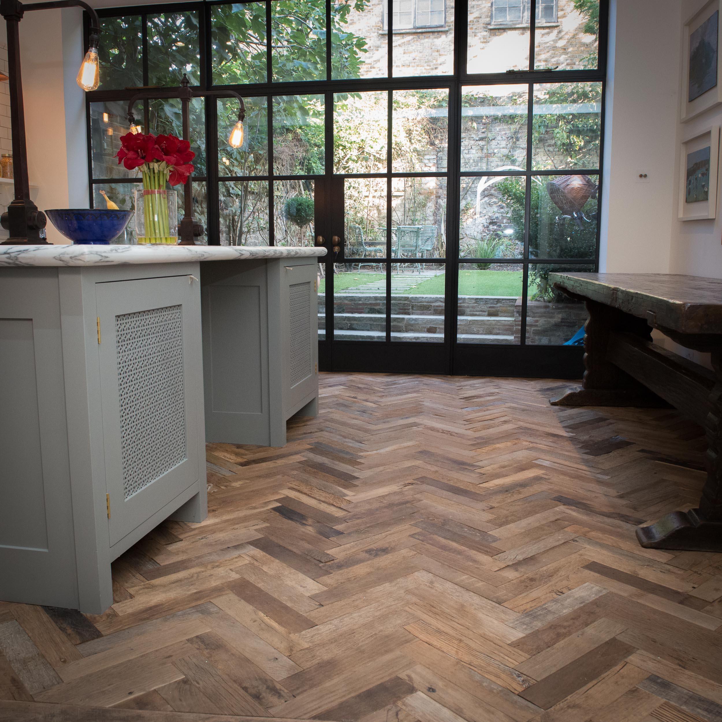 Reclaimed Oak Herringbone in kitchen with crittall windows