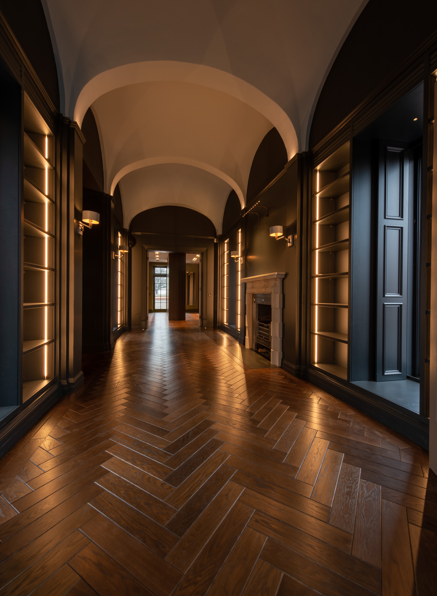 Audley Oak Herringbone in Library