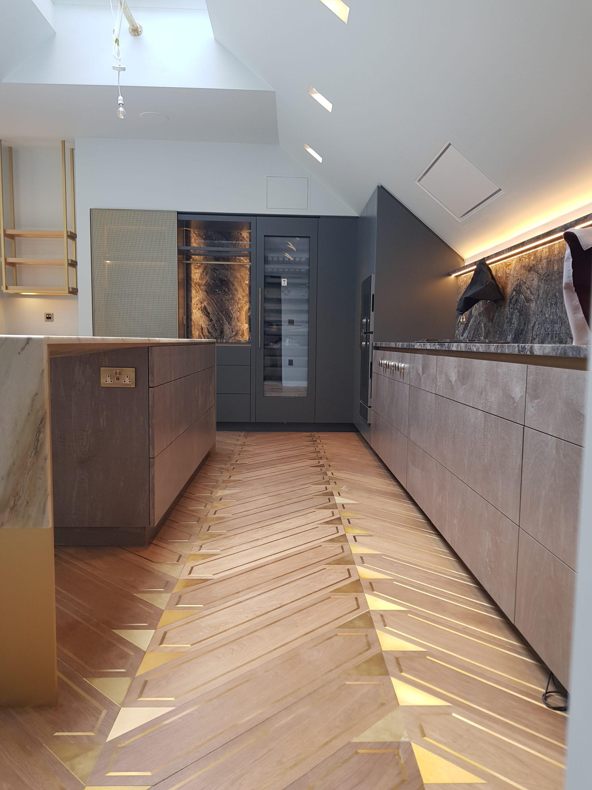 Meribel Oak Flooring with Brass inlay